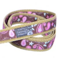 DOG LEAD - PINK AND MINT PAISLEYS ON CHOCOLATE BROWN (RIBBON 16mm)